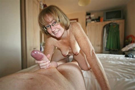 Freckled Mature Wife Gives Handjob