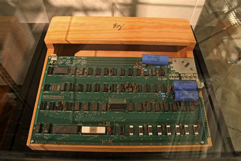 Apple I Circuit Board And Wooden Case With Woz Sign