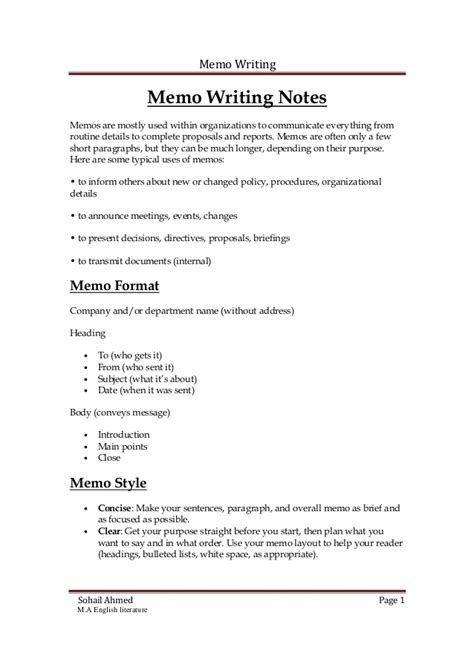 Template For Writing A Memo by Memo Writing Notes By Sohail Ahmed Solangi