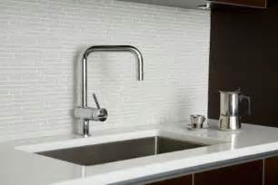 White Kitchen Glass Backsplash White Glass Tiles Backsplash Contrast Cabinetry Provides The Clean Lines Kitchen Design