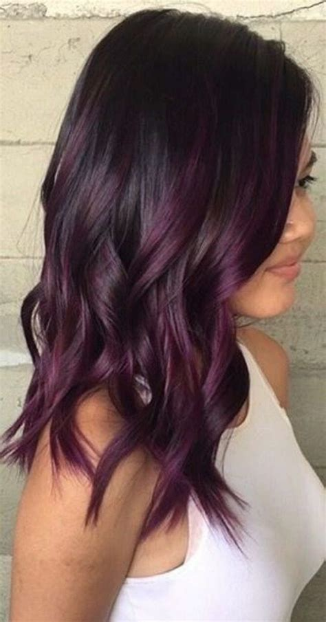 balayage cheveux prune fonc 233 colorations cheveux fonc 233 es en 2019 cheveux prune fonc 233