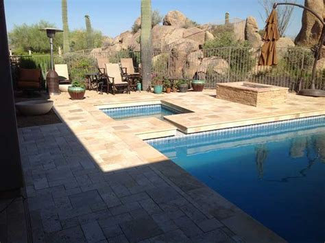 travertine pool deck qualities great pool decks