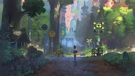 wallpaper anime girl railway crossing
