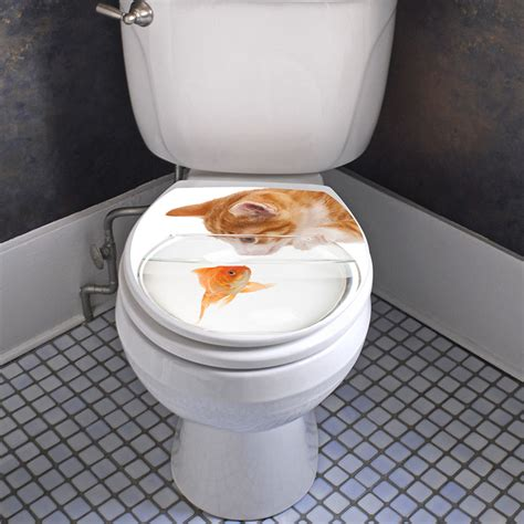 sticker abattant toilette chat et poisson d or stickers toilettes abattants wc ambiance sticker