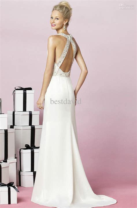 Halter Cross Backless Wedding Dresses 2013 Beaded Sashes