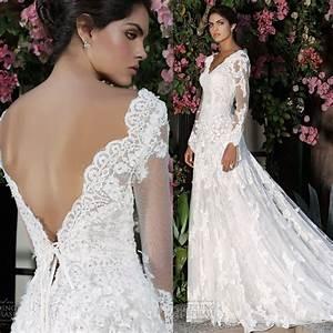 Aliexpresscom buy elegant design a line v neck long for Long sleeve v neck wedding dress