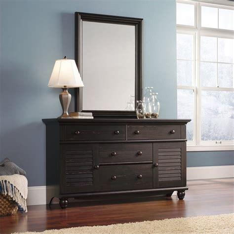 sauder harbor view dresser antiqued paint dresser and mirror set in antiqued paint 401324 pkg