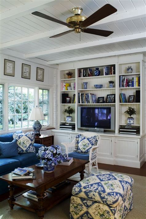 blue  white family room   white panel walls