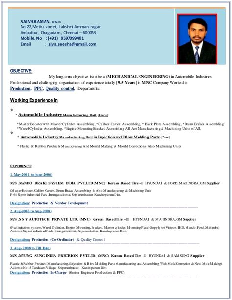 Automobile Engineering Resume by Resume Production Automobile