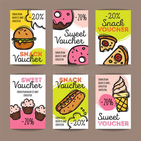burger voucher template vector set of discount coupons for fast food and desserts