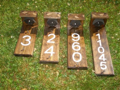 house number sign  solar lights wood grain finish time
