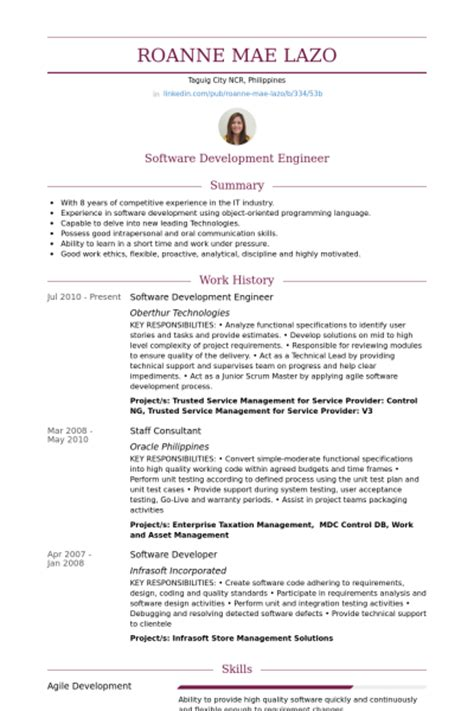 Engineering Resume Exles 2012 by Software Development Engineer Resume Sles Visualcv Resume Sles Database