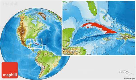 physical location map  cuba
