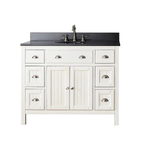 avanity hamilton   french white single sink bathroom vanity  black granite top  lowescom