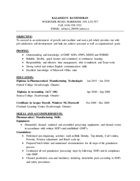 Objective Resume Pharmaceutical Industry by Pharmaceutical Resume