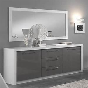 Buffet Gris Laqué : bahut 2 portes 3 tiroirs fano laqu blanc et gris blanc brillant gris brillant ~ Teatrodelosmanantiales.com Idées de Décoration