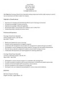 clinical specialist resume objective resume sles sle oncology clinical specialist resume