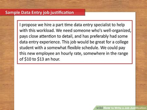 write  job justification  steps  pictures