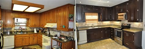 Restaining Kitchen Cabinets Before And After by Staining Kitchen Cabinets Darker Before And After Pictures