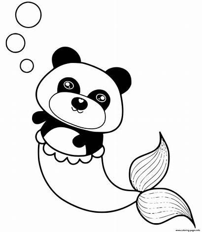 Panda Mermaid Coloring Coloriage Sirene Printable Dessin