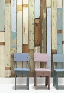 Wandgestaltung Mit Tapeten : rustikale tapeten muster mit bauholz optik ideen f r ~ Lizthompson.info Haus und Dekorationen