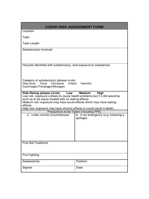 coshh risk assessment form   templates   word