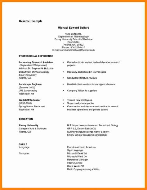 Simple Format Of Cv by 9 Cv Formats Sles Pdf Theorynpractice