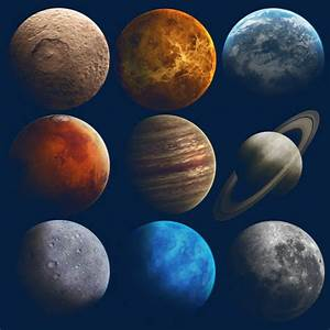 Nine Planets, Lunar Surface, Universe, Space PNG and PSD ...