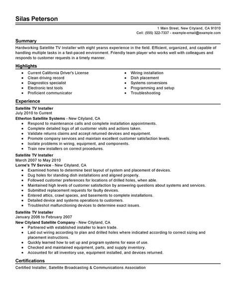Livecareer My Resume by Best Satellite Tv Installer Resume Exle Livecareer