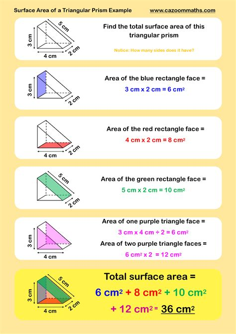 surface area of a triangular prism exle tutoring