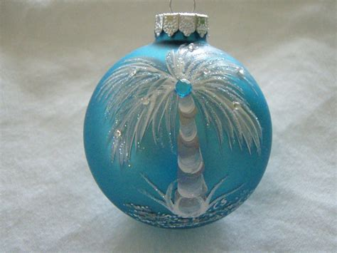 tropical hand painted turquoise glass ornament by