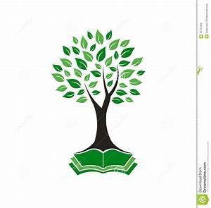 Tree Book Connection Logo Stock Vector