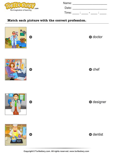 match profession  pictures worksheet turtle diary