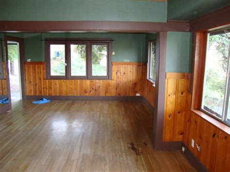 knotty pine   craftsman home floor fireplace color