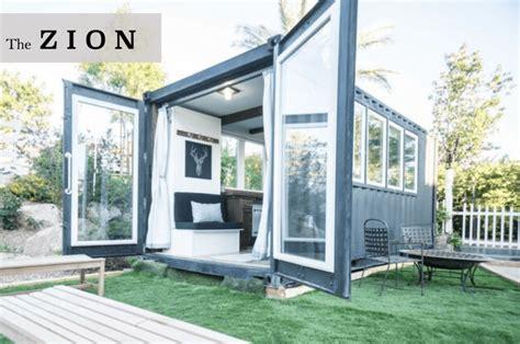 luxury container tiny home  giant glass doors
