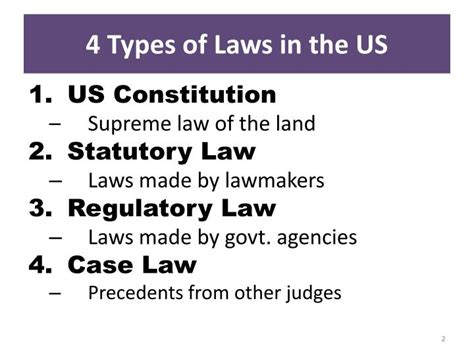 laws in the us ppt 4 types of laws in the us powerpoint presentation id 2578666