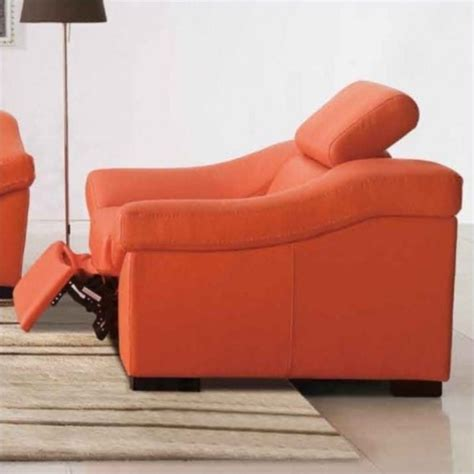 esf style leather reclining club chair in orange 80211