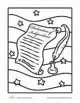 Declaration Independence Coloring Pages Worksheets July Worksheet History Studies Social Education Grade American Holiday Thomas Jefferson Revolution Preschool Constitution Fun sketch template