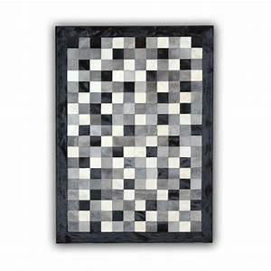 Tapis Blanc Et Gris : tapis en peau de vache gris noir et blanc patchwork cordoue ~ Melissatoandfro.com Idées de Décoration
