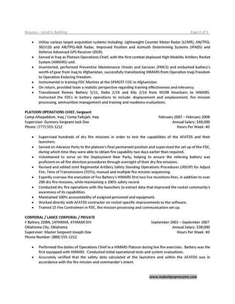 Army Sergeant Resume Exles by Resume Exle