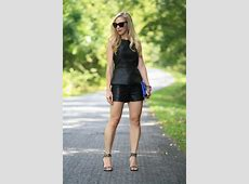 { Leather on Leather Peplum top, Faux leather shorts