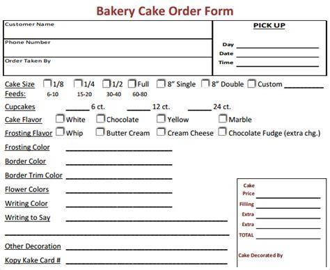 cake order form template 16 cake order form templates sle templates
