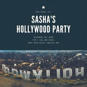 Customize 48  Hollywood Invitation Templates Online