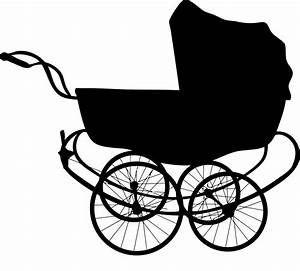 Clipart - Vintage Baby Carriage Silhouette