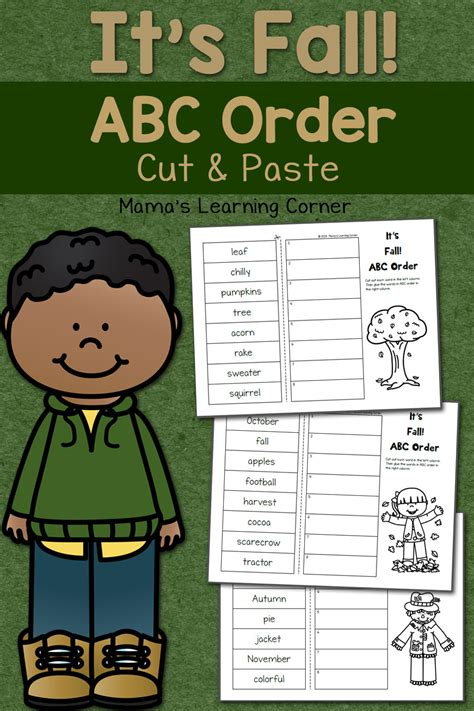 fall cut  paste abc order worksheets mamas learning