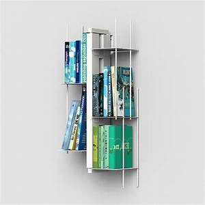 Libreria Verticale Sospesa In Massello Di Faggio