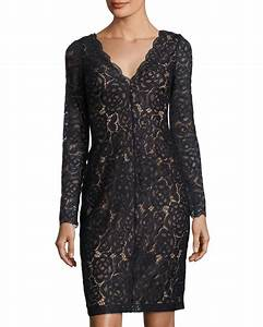 Lyst - Vera wang Long-sleeve Lace Cocktail Dress in Blue