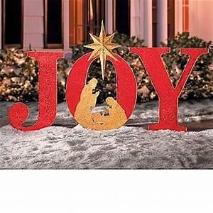 4 Tall JOY Nativity Unique Outdoor Christmas Yard Art Decor