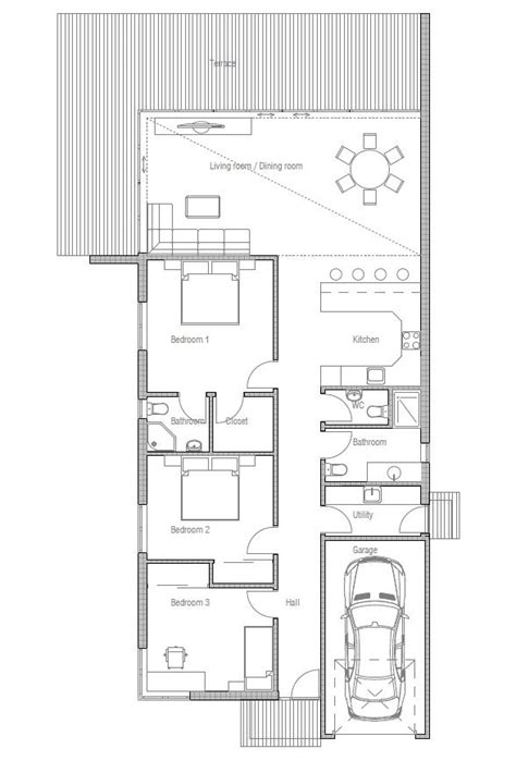 Moderne Einstöckige Häuser by Contemporary Home Plan With Three Bedrooms Suits Best To