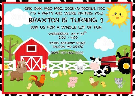 printable farm animals birthday party invitation